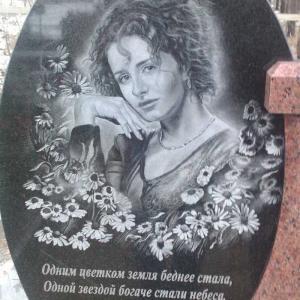 Мраморный овал на гранитной подставке - Камень памяти - Примеры других исполнителей